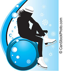Girl fasten the figure skates. Composition for card. Vector...