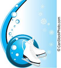 Figure skates. Composition for card. Vector illustration