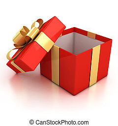 open red present box with golden ribbon isolated over white...