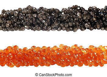 rojo, negro, pez, caviar