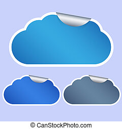 Vector computer cloud stickers on blue background. Eps10