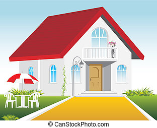 Stylish private residence. Vector illustration