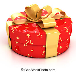 red gift box with golden ribbon