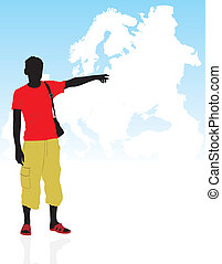 Silhouette on a background the map - Masculine silhouette on...
