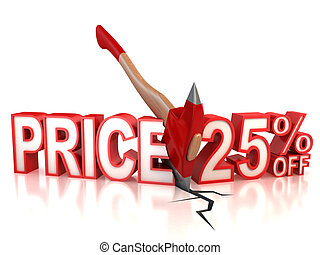 25 percent discount 3d concept isolated illustration