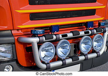 Fire truck - Front of the fire truck, close-up on the...