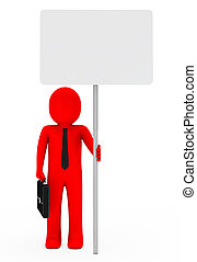 businessman hold signboard