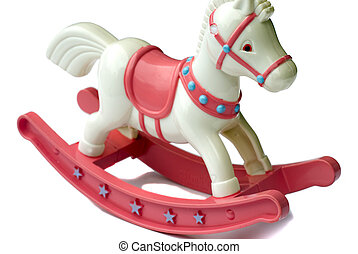Rocking horse - Close-up of toy rocking horse against white...
