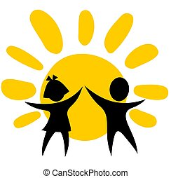 childhood symbol - Stylized girl and boy on a sun...