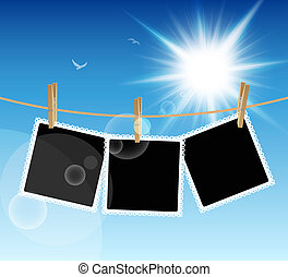 Pictures on blue sky background