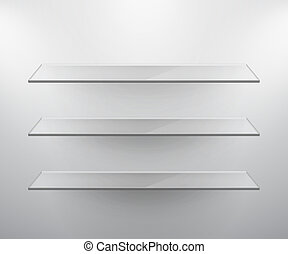 Glass isolated Empty shelves for exhibit Vector illustration...