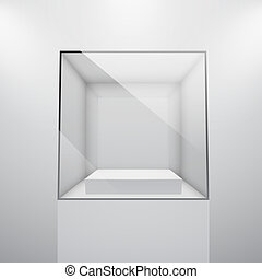 3d Empty glass showcase for exhibit. Vector illustration.