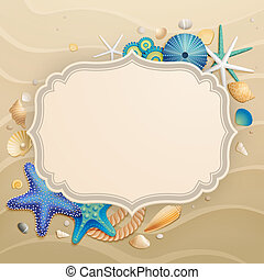 Vintage Holiday greeting card with shells and starfishes and...