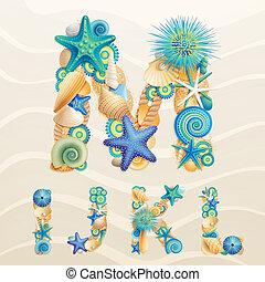 Vector sea life font on sand background. Check my portfolio...