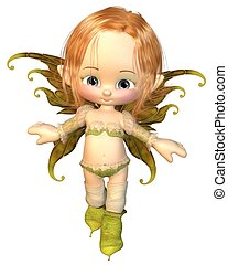 Cute Toon Auburn Hair Fairy