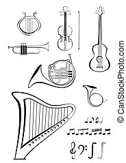 Violin, quitar, lyre, French horn, - Vector black and white...