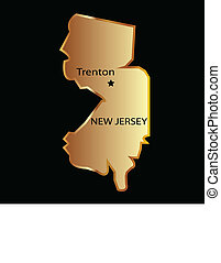 New Jersey state usa in gold with capital name