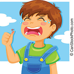crying kid - little boy crying because of a cut on his thumb
