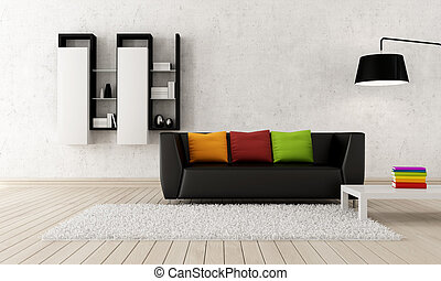 Modern living room - Colorful contemporary living room with...