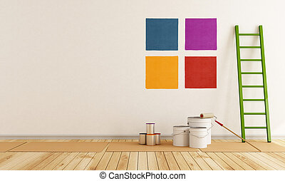 ... Select Color Swatch To Paint Wall In A White Room ...
