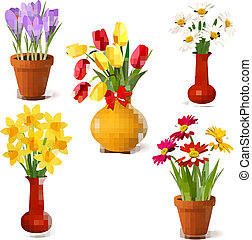 Spring and summer colorful flowers in vases Vector...