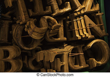 The wooden Typing alphabets - The wooden typing alphabets in...