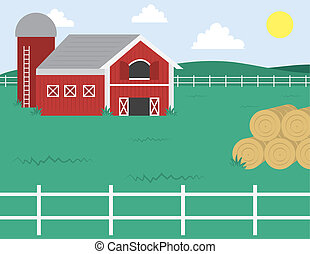 Farm with Barn  - Cartoon farm with barn and white fence