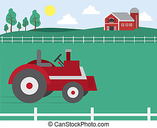 Farm with Barn and Tractor - Cartoon farm with barn and...