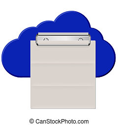 Vector idea cloud clipboard with paper isolated on white. Eps10