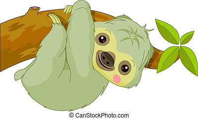Fun zoo. Sloth - Fun zoo. Illustration of cute Sloth