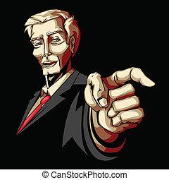 Businessman pointing forward