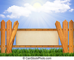 Paper background on wood fence .Blue sky horizon with sun.