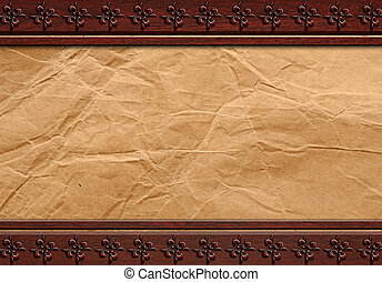 Grunge paper on wood background or texture