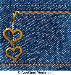 denim background with two metallic hearts