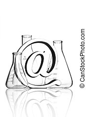 At symbol with flasks - At symbol paperweight in front of...