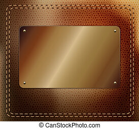 Leather background with metallic label