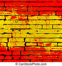Spanish Brick Wall Background - Grunged Spanish Flag over a...