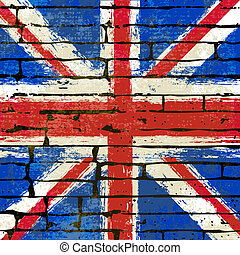 Union Jack on a Brick Wall Background - Grunged British...