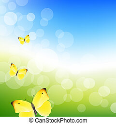 Blue Sky And Butterfly With Bokeh, Vector Illustration