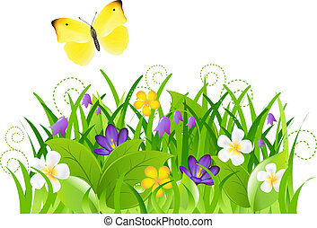 Flowers With Grass And Butterfly