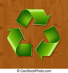 Wood Background With Recycle Symbol