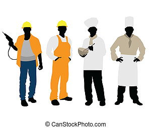 Cooks and builders silhouettes - Vector illustration of a...