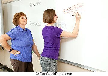 相片, 股票, 老師, 學生, 黑板