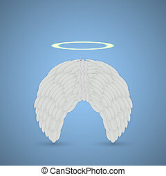 Vector angel wings on blue background. Eps10