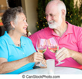 Stock Photo of Senior Couple Drinking Wine - Senior couple...