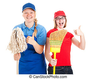 Stock Photo of Enthusiastic Teen Workers - Thumbs Up -...