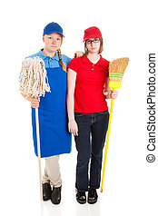 Stock Photo of Serious Teenage Workers