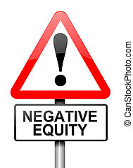 Negative equity concept - Illustration depicting a red and...