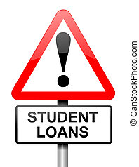 Student loans warning. - Illustration depicting a red and...