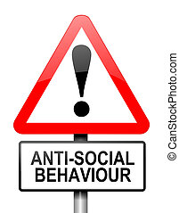Anti-social behaviour warning - Illustration depicting a red...